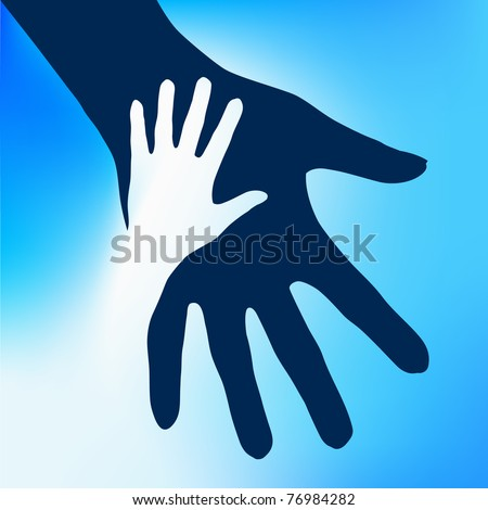 Helping Hands Child.  Illustration on blue background for design