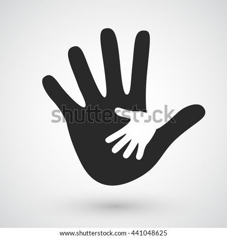 Helping hands icon. Care, adoption, pregnancy or family concept. Vector illustration on black background
