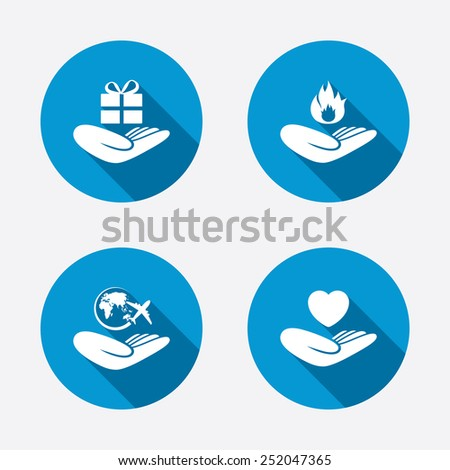 Helping hands icons. Health and travel trip insurance symbols. Gift present box sign. Fire protection. Circle concept web buttons. Vector - stock vector