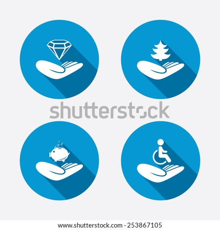 Helping hands icons. Protection and insurance symbols. Financial money savings, save forest. Diamond brilliant sign. Disabled human. Circle concept web buttons. Vector - stock vector