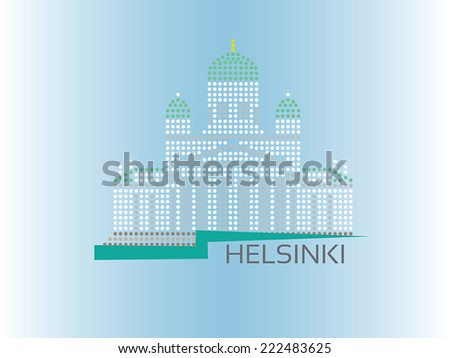 Helsinki Cathedral dotted style illustration