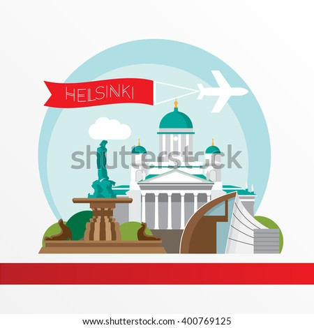 Helsinki detailed silhouette. Trendy vector illustration, flat style. Stylish colorful  landmarks. The concept for a web banner.  Havis Amanda the symbol of Helsinki, Finland.  - stock vector