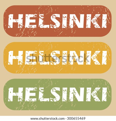 Helsinki on colored background - stock vector