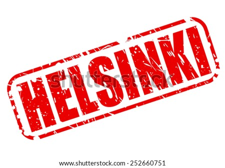 Helsinki red stamp text on white - stock vector