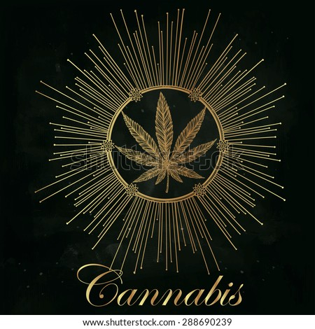 Hemp Cannabis Leaf in vintage linear style. Marijuana silhouette clip art in sun ray. Concept design, Elegant tattoo artwork. Isolated vector illustration.   - stock vector