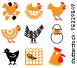 hen and chicken icons vector set - stock vector