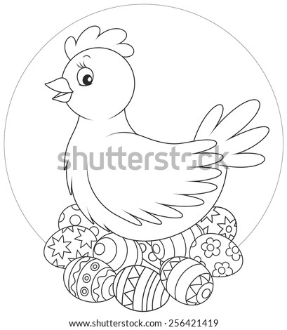 Hen and Easter eggs - stock vector