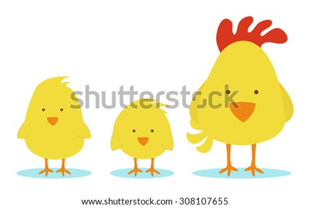 Hen mother with two little chicks - stock vector