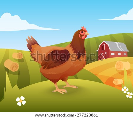 Hen standing on grass with farm on background. Vector illustration - stock vector
