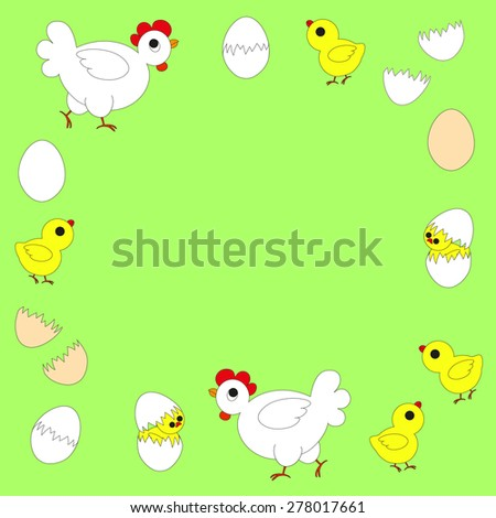 Hen with chicken and egg - stock vector