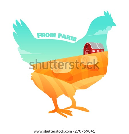 Hen with farm background inside. Concept of fresh farm products. Vector illustration - stock vector