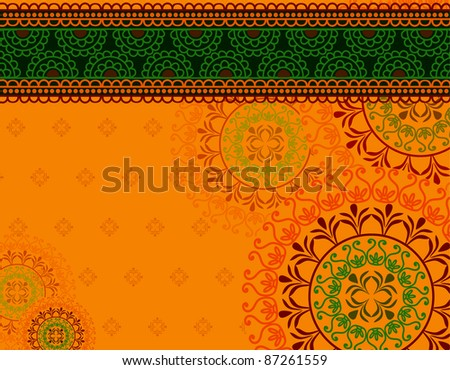 Henna art inspired- colourful Background - elaborate and easily editable - stock vector