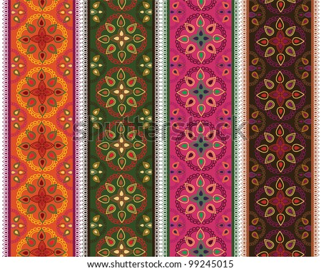 Henna Banner/ Border, Henna inspired Colourful Border - very elaborate and easily editable - stock vector