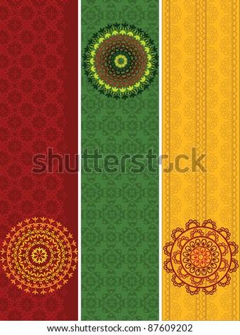 Henna Banners - stock vector