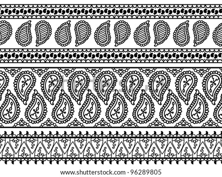 Henna Banners/ Borders, very elaborate and easily editable - stock vector