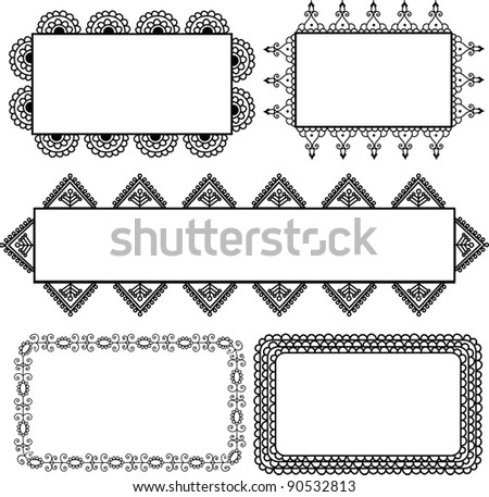 Henna borders, Indian art -Henna inspired banners/borders - very elaborate and easily editable - stock vector