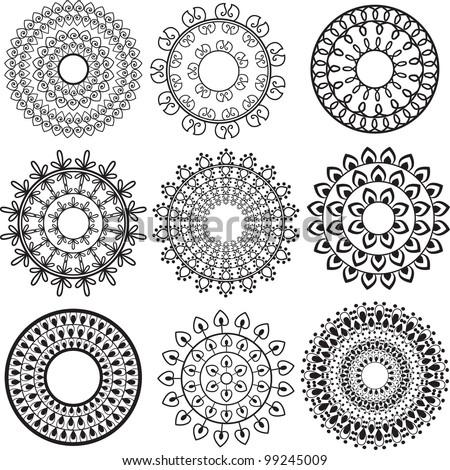 Henna Mandala Background- very elaborate and easily editable - stock vector
