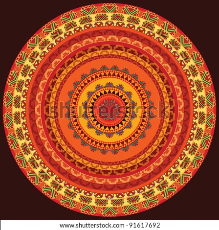 Henna Mandala, Henna inspired Colourful Mandala - very elaborate and easily editable - stock vector