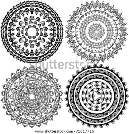 Henna Mandala, Henna inspired Mandala - very elaborate and easily editable - stock vector
