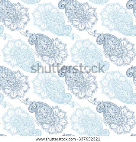 Henna Mehendy Tattoo Doodles Seamless Pattern. Floral retro background pattern in vector. Henna paisley mehndi doodles design.  - stock vector