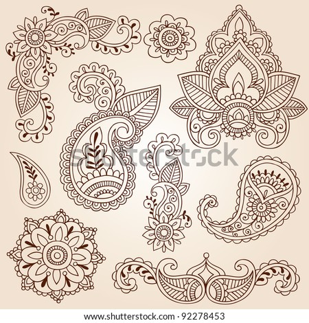 henna mehndi doodles abstract floral paisley stock vector. Black Bedroom Furniture Sets. Home Design Ideas