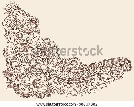 Henna Mehndi Doodles Abstract Paisley Flowers Vector Illustration Design Elements - stock vector