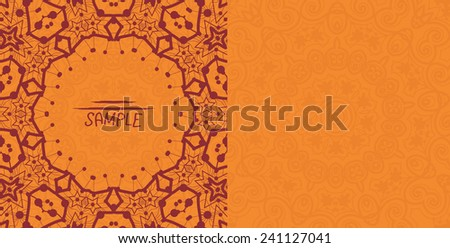 Henna orange antique banner template. Mehndi inspired tribal invitation card design. A lot of copyspace. - stock vector