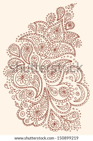 Henna paisley flowers mehendi tattoo hand drawn design. Vector illustration. - stock vector