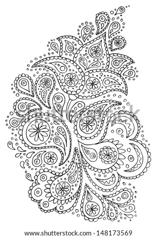 Henna paisley flowers mehndi tattoo hand drawn design. Vector illustration. - stock vector