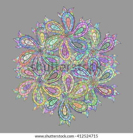 Henna Paisley Mehndi Doodles Abstract Floral Illustration Design Element. Colored Version. - stock vector