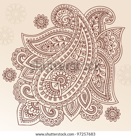 Henna Paisley Mehndi Doodles Abstract Floral Vector Illustration Design Element - stock vector