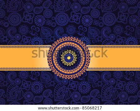 Henna Seamless background with gold banner - Very detailed and easily editable - stock vector