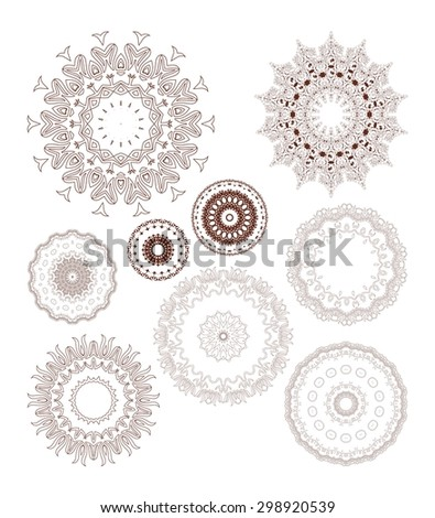 Henna tattoo doodle vector elements on white background art - stock vector