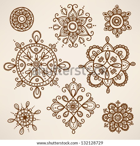 Henna tattoo elements