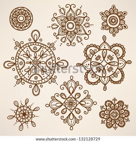 Henna tattoo elements - stock vector