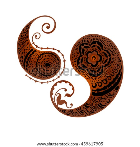 Henna Tattoo, Indian mehndi pattern, black henna, paisley, yin and yang, Zen pattern. Vector illustration. - stock vector