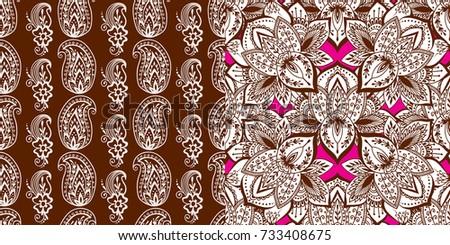 Henna Mehndi Vector : Henna tattoo brown mehndi flower template stock vector 612902396