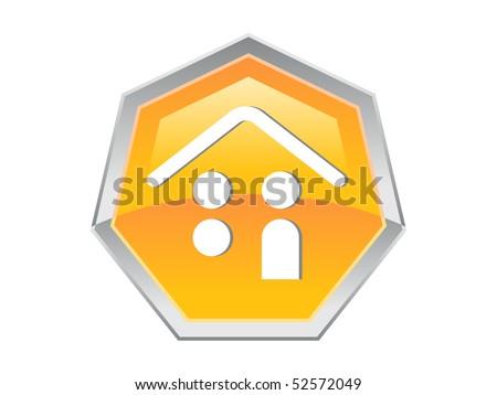 Heptagon Coin Person House Design Button Icon - stock vector