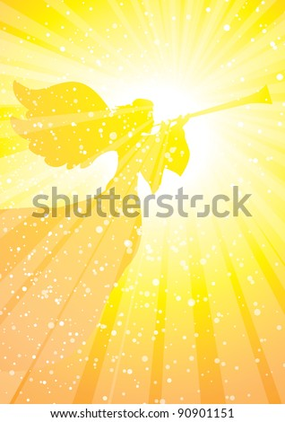 herald angel with horn in golden rays of light - stock vector