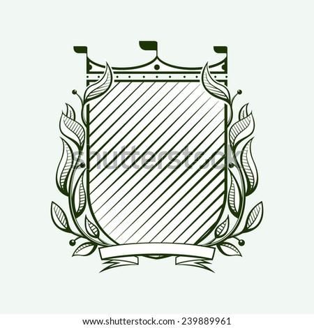 Heraldic antique luxury shield - stock vector