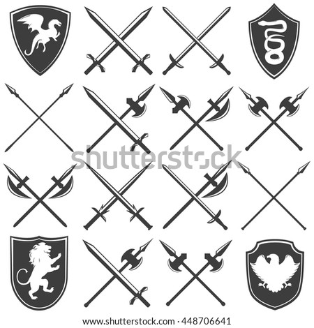 Heraldic armory graphic icons set with dragon lion eagle snake shields gothic swords lances isolated vector illustration - stock vector