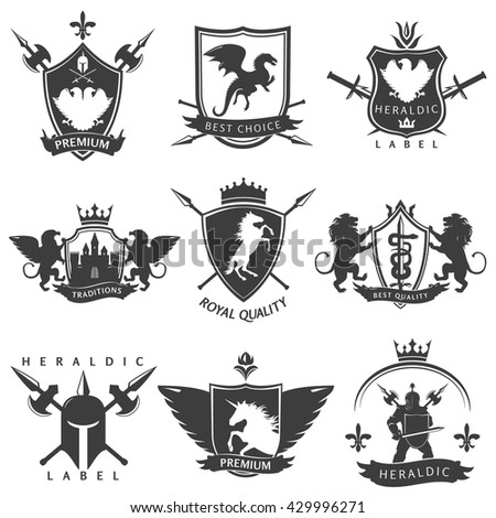 Heraldic black white labels with knight sword crown lance unicorn flower double eagle lion isolated vector illustration   - stock vector