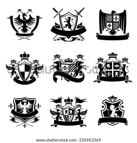 Heraldic coat of arms decorative emblems black set with royal crowns and animals isolated vector illustration. - stock vector