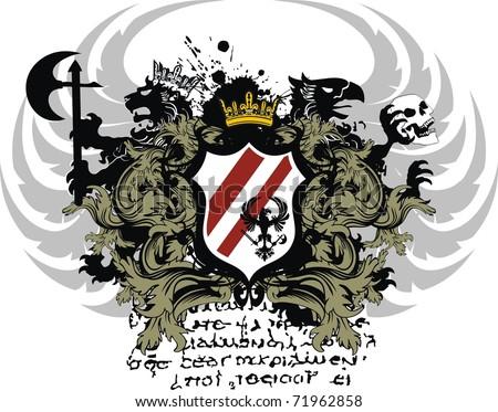 heraldic coat of arms shield in vector format very easy to edit - stock vector