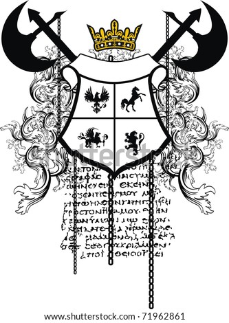 heraldic coat of arms shield in vector format very easy to edit - stock vector