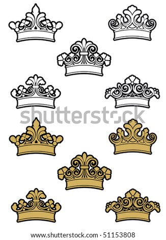 Heraldic crowns and diadems for design and decorate or logo template. Jpeg version also available in gallery