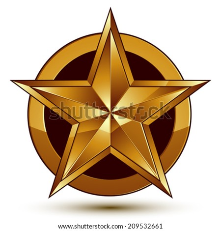 Heraldic 3d glossy icon can be used in web and graphic design, five-pointed golden star, clear EPS 8 vector. - stock vector