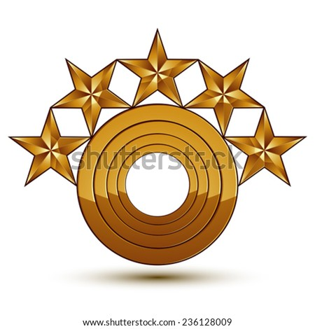 Heraldic 3d glossy icon can be used in web and graphic design, five-pointed golden stars, clear EPS 8 vector. - stock vector