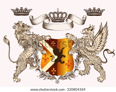Heraldic design with coat of arms griffin, lion and crowns in antique style - stock vector