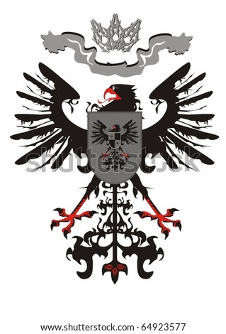 Heraldic eagle with a crown - stock vector